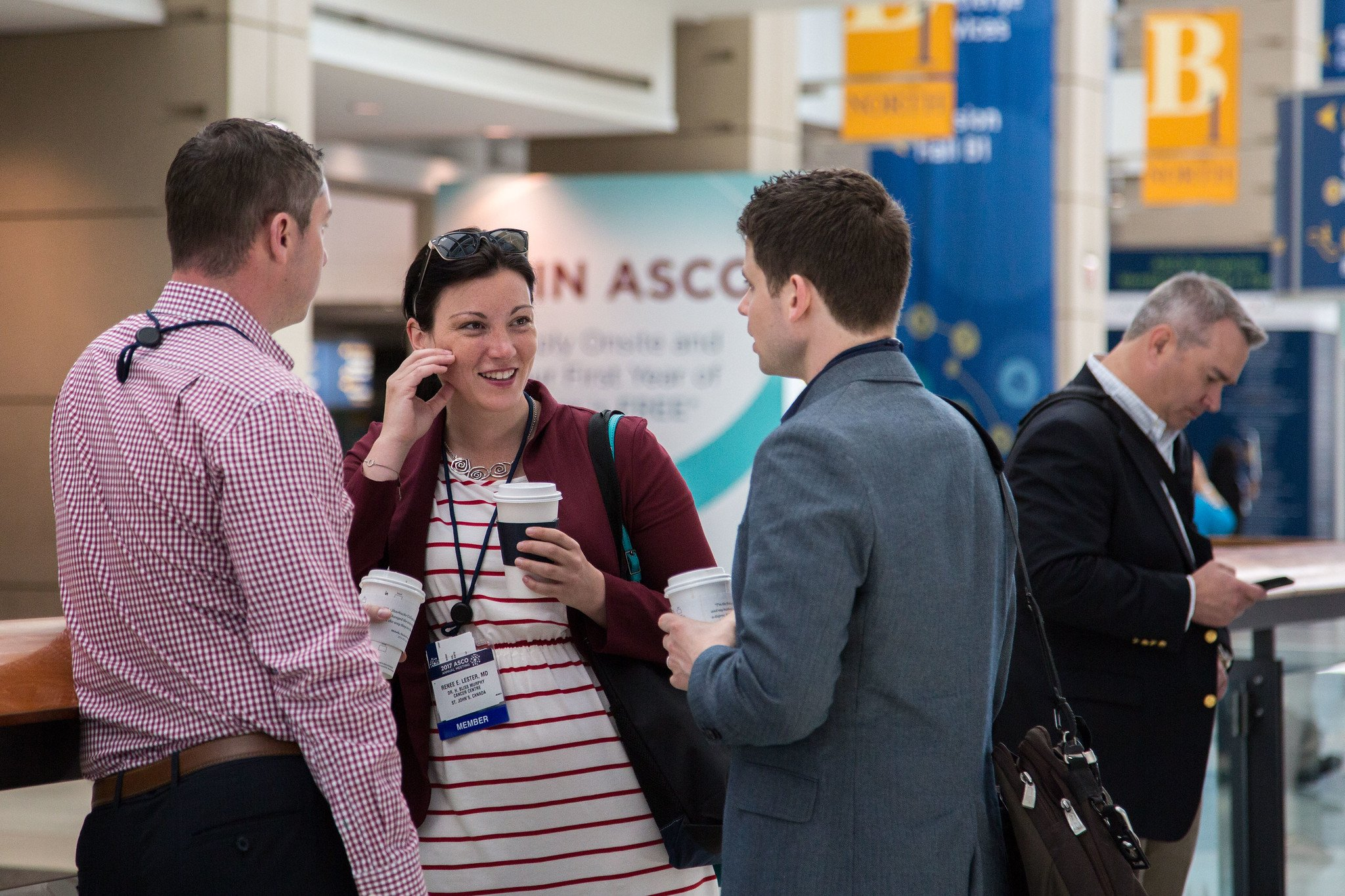 Attendees networking during during the American Society of Clinical Oncology (ASCO) Annual Meeting. Courtesy: © ASCO/Danny Morton